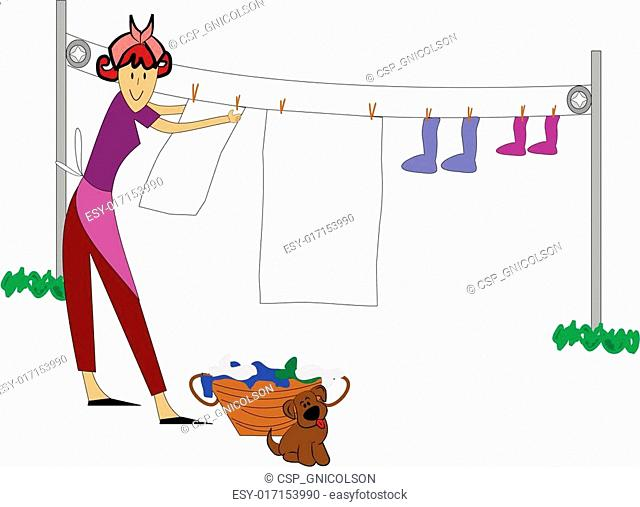 woman hanging clothes outside