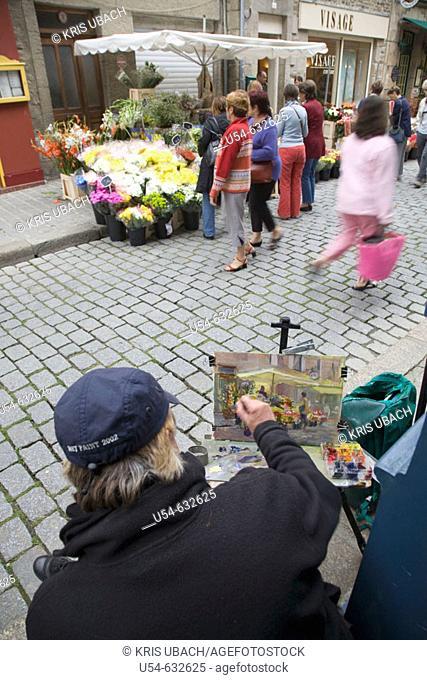 French steet painter. Dinan. Haute Bretagne. France