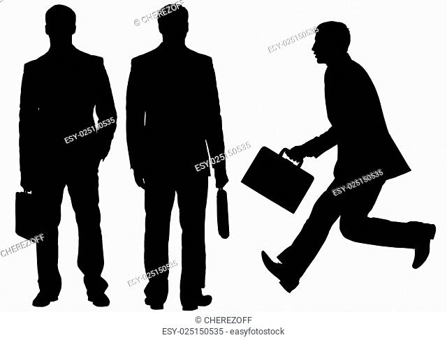 Silhouette of businessmen on white background
