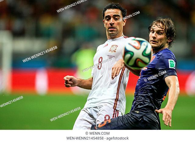 2014 FIFA World Cup - Group B match, Spain 1 - 5 Netherlands, held at Arena Fonte Nova, Salvador Featuring: Xavi Where: Salvador