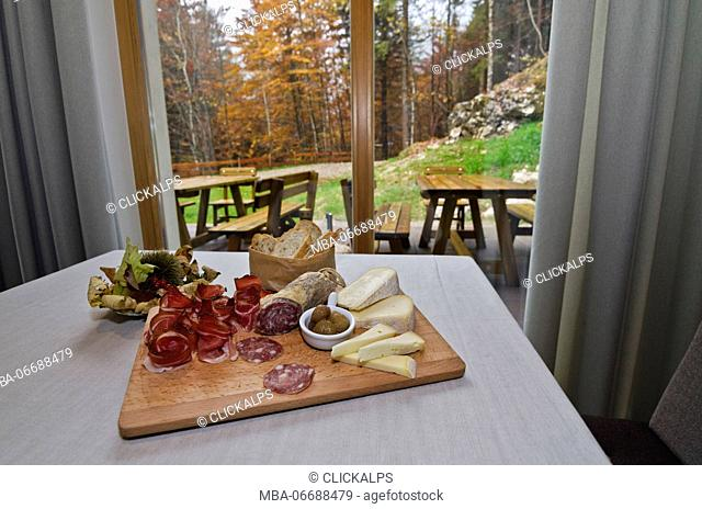 Cold cuts and cheese are the typical appetizers of Trentino's cuisine. Trentino Alto Adige, Italy
