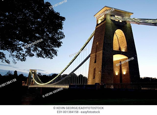 Clifton Suspension Bridge by Brunel, Illuminated at Night, Bristol, England, UK