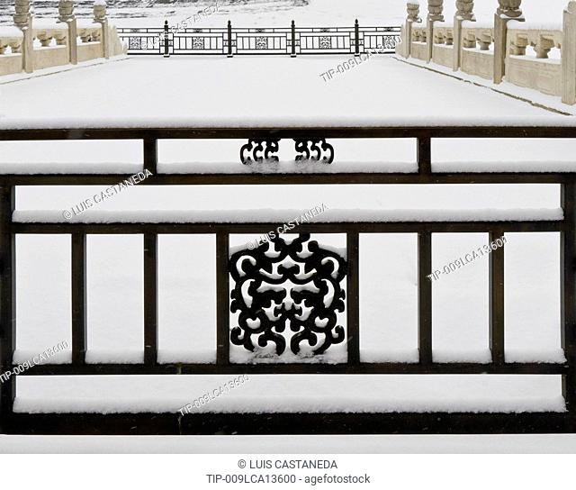 China, Beijing, The Forbidden City, Fence in Winter