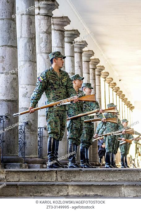 Soldiers at Carondelet Palace, Old Town, Quito, Pichincha Province, Ecuador
