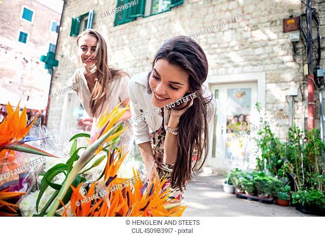 Female tourists looking at flowers on market stall, Split, Dalmatia, Croatia