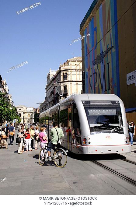 Modern tram in Seville