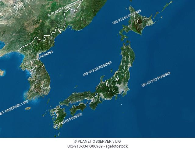Satellite view of Japan and Korean Peninsula (with country boundaries). This image was compiled from data acquired by Landsat satellites