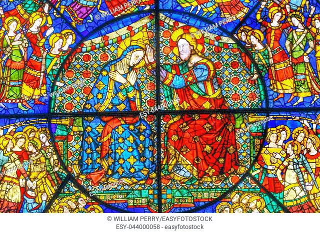Coronation Of Mary By Jesus Rose Window Stained Glass Chapel Santa Maria Novella Church Florence Italy. First Church in Florence founded 1357