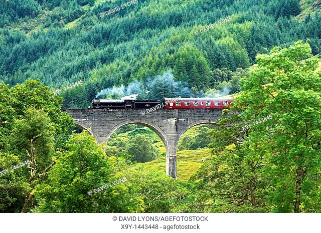 Steam engine Lord of the Isles pulls passenger train across Glenfinnan Viaduct to Mallaig from Fort William  Highland, Scotland