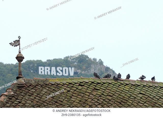 Tiled roof of a historic building, Brasov, Transylvania, Romania, Europe