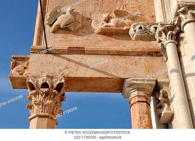 Ancona, Marche, Italy: detail of San Ciriaco's Cathedral