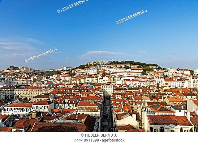 Portugal, Europe, Lisbon, Lisboa, Chiado, Elevador de Santa Justa, roofs, fortress, Castelo de Sao J, place of interest, landmark, tourism, castles, trees