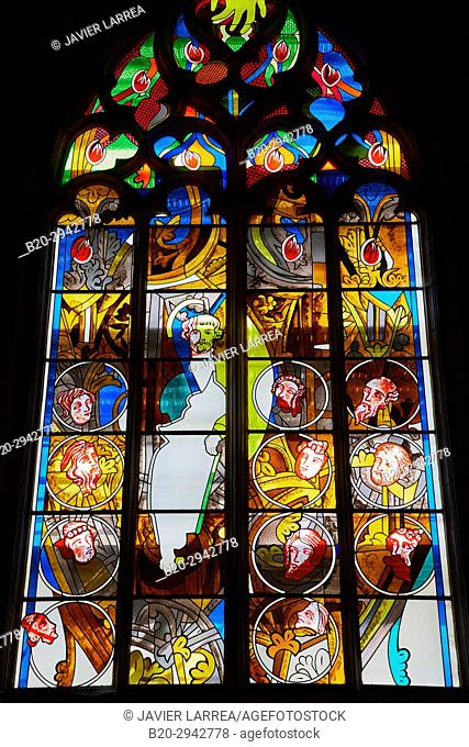 Stained glass windows, Cathedral Saint Cyr and Sainte Julitte, Nevers, Nievre, Bourgogne, France, Europe
