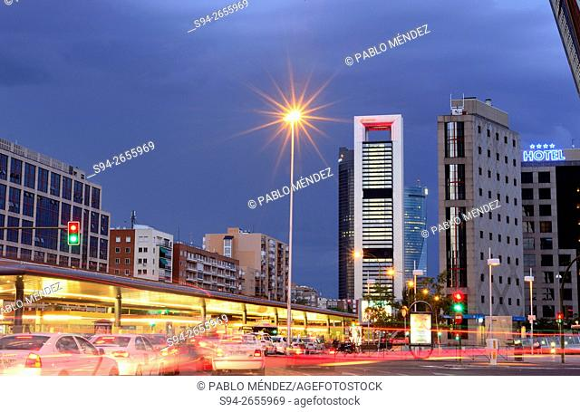 "Plaza Castilla """"Castilla's square"""" and four business towers, Madrid, Spain"