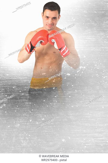 Boxer fighter man with transition