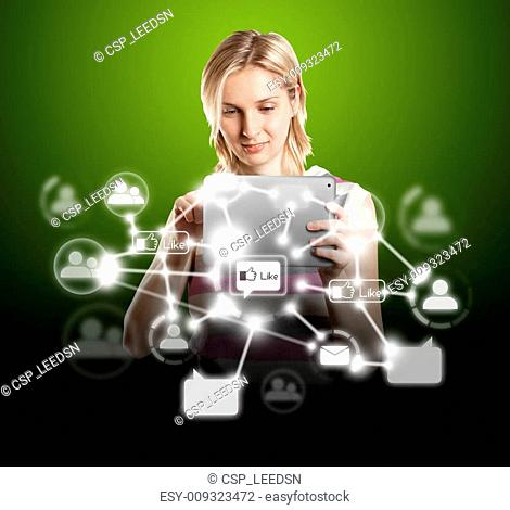 Businesswoman With Touch Pad in Social Network