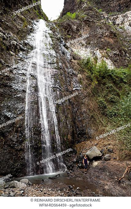 Waterfall in Barranco del Infierno, Adeje, Tenerife, Spain