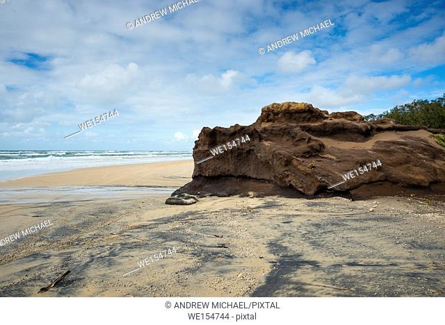 Coffee rocks made of sand on the beach at Fraser Island, Queensland, Australia
