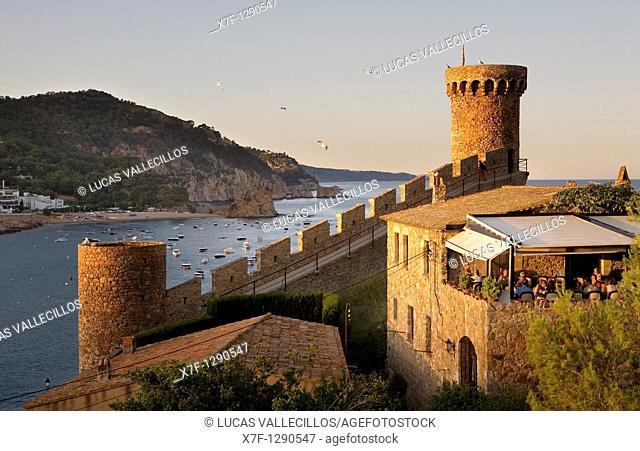 Tossa de Mar Walls of old city Vila Vella Costa Brava  Girona province  Catalonia  Spain