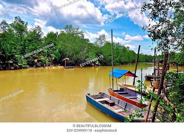 boats or sampans resting along river in asian rural area