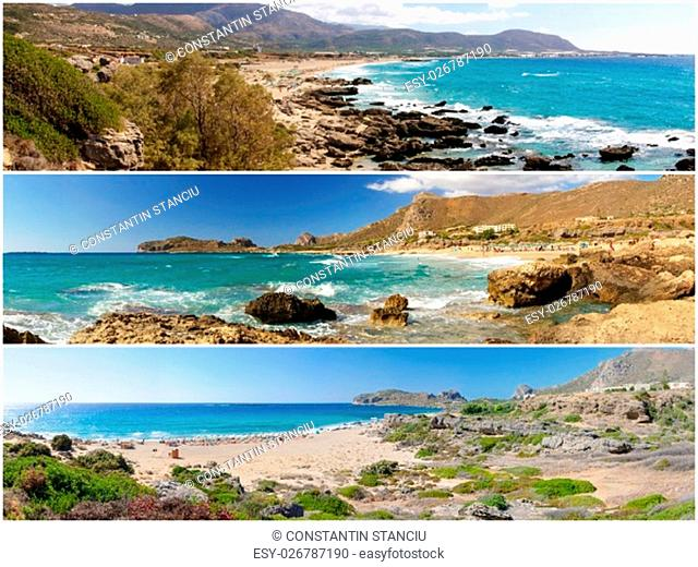 Photo collage of panoramic landscapes from Falassarna beach, Crete island, Greece