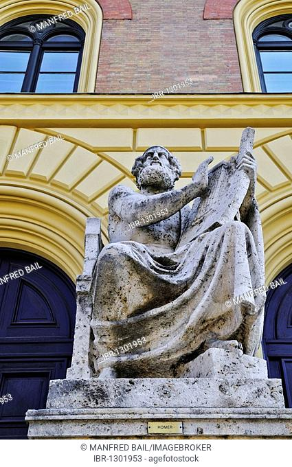 Homer in front of the Bavarian State Library, Munich, Bavaria, Germany, Europe