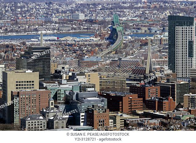 Aerial view including Leonard P Zakim Bunker Hill Memorial Bridge, a cable-stayed bridge that was completed in 2002, Boston, Massachusetts, United States