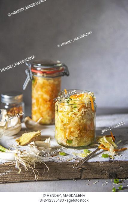 Homemade japanese cabage kimchi with ginger, garlic, chilli, spring onion