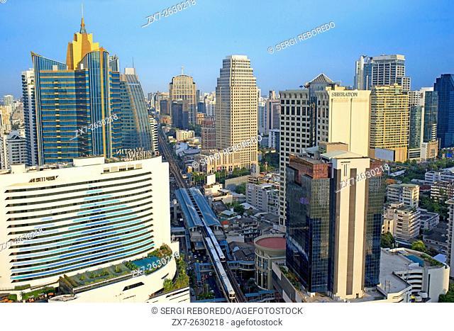 Landcape, views of Sukhumvit Road, sky train, Westin, Sheraton and skyscrapers from Sofitel Bangkok Sukhumvit. Bangkok. Thailand