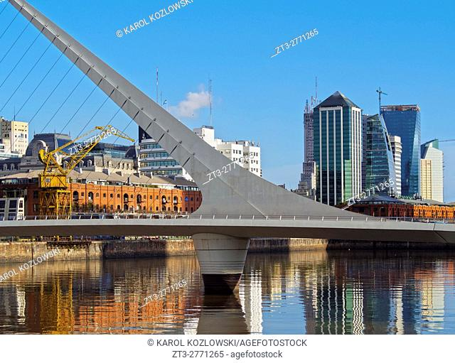 Argentina, Buenos Aires Province, City of Buenos Aires, View of Puente de la Mujer in Puerto Madero