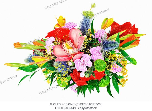 Floral bouquet of orchids, gladioluses and carnation isolated on white background