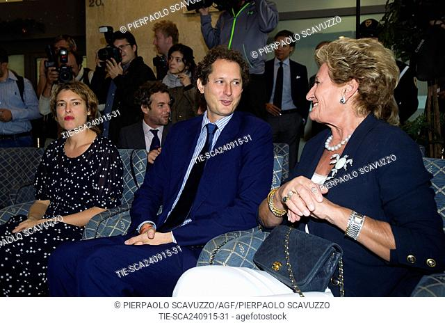 Ginevra Elkann ( left ) and brother John Elkann Chairman of Fiat Chrysler Automobiles during the ceremony of naming of the general gallery in the headquarter of...