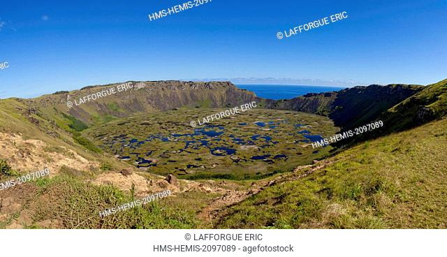 Chile, Easter Island (Rapa Nui), site listed as World Heritage by UNESCO, Rano Kau is an extinct volcano that forms the southwestern headland of Easter Island