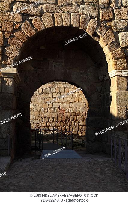 Alcazaba walls, Merida, Badajoz province, Region of Extremadura, Spain