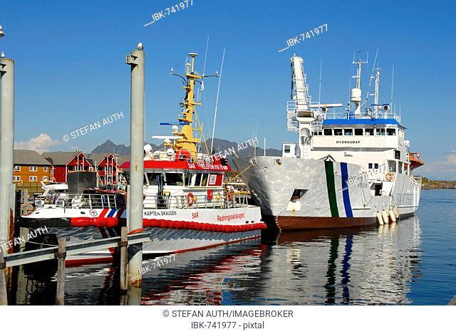 Two ships, SAR rescue boat, Kabelvag Harbour, Lofoten, Norway