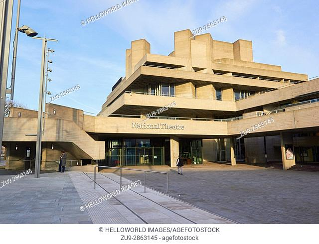 Grade II listed National Theatre by Denys Lasdun (1976), South Bank, London, England