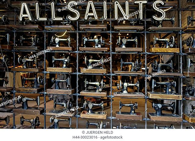Allsaints shop window with sewing machines, Meatpacking District, New York, USA