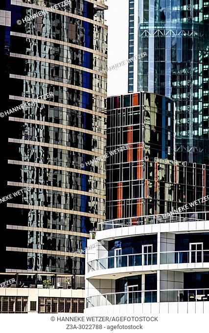 Closeup of the 5 Star The Address Dubai Marina Hotels in Dubai City, United Arab Emirates