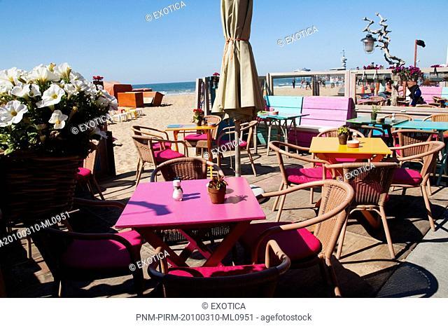 Cafe on the beach, Scheveningen, The Hague, Netherlands