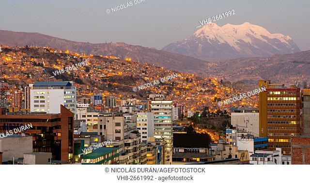 Evening view of La Paz, with Illimani Peak. Bolivia. South America