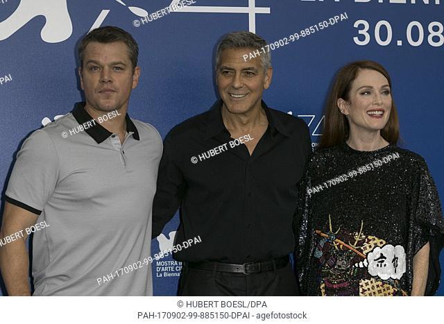 Matt Damon (l-r), George Clooney and Julianne Moore attend the photo call of 'Suburbicon' during the 74th Venice Film Festival at Palazzo del Cinema in Venice
