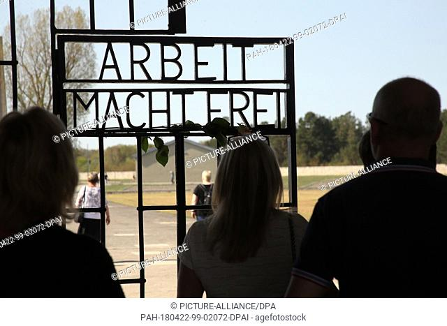22 April 2018, Germany, Sachsenhausen: People taking part in the central memorial service at the former Sachsenhausen concentration camp on the 73rd anniversary...