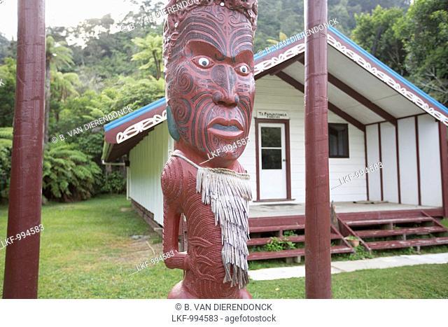 Maori ritual site (Marae) at a Tieke Kainga Hut. A canoe trip on the Whanganui River, North Island, New Zealand
