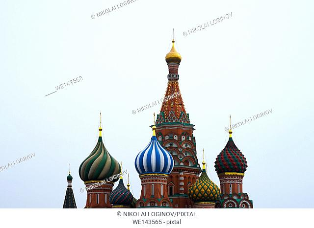 Saint Basil's Cathedral on Moscow Red Square background