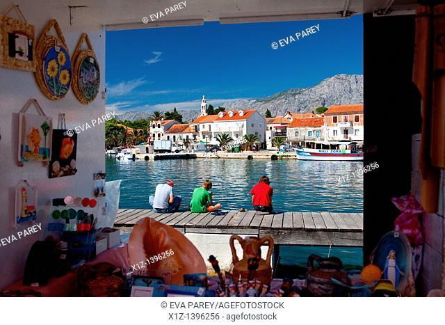 Street market in the village of Sucuraj in the island of Hvar Croatia