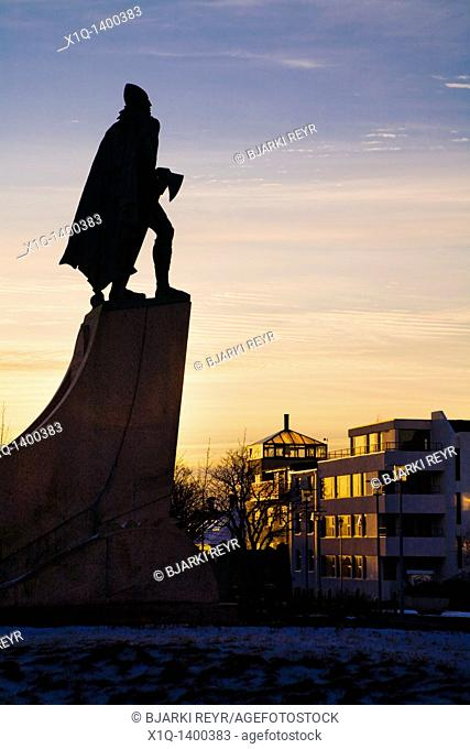 Statue of Leifur Eiriksson Leif Ericson at sunset  Hallgrimskirkja church, downtown Reykjavik, Iceland  He was a Norse explorer who was probably the first...