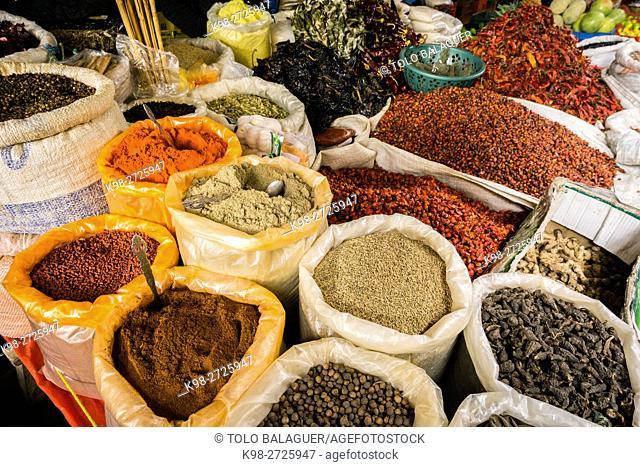Spices, market, Santa María Nebaj, El Quiché, Guatemala, Central America