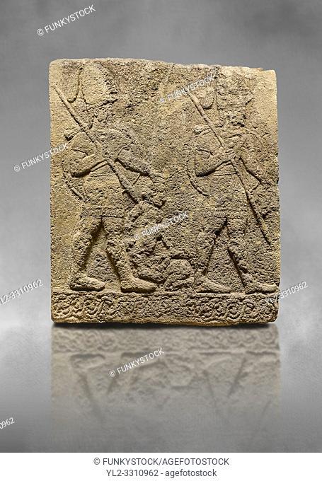 Hittite sculpted Orthostats panel of Long Wall Limestone, Karkamıs, (Kargamıs), Carchemish (Karkemish), 900-700 B. C. Soldiers