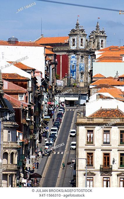 Rua de 13 Janiero in Porto, Portugal looking towards Junta de Freguesia de Santo Ildefonso on the skyline
