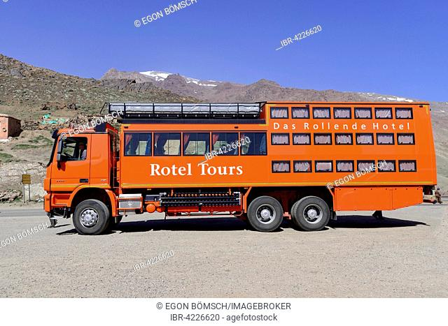 Rotel bus, Rolling Hotel, Telouet in the High Atlas, Morocco